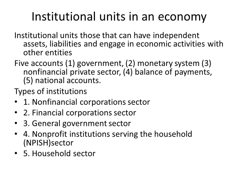 Institutional units in an economy Institutional units those that can have independent assets, liabilities and engage in economic activities with other entities Five accounts (1) government, (2) monetary system (3) nonfinancial private sector, (4) balance of payments, (5) national accounts.