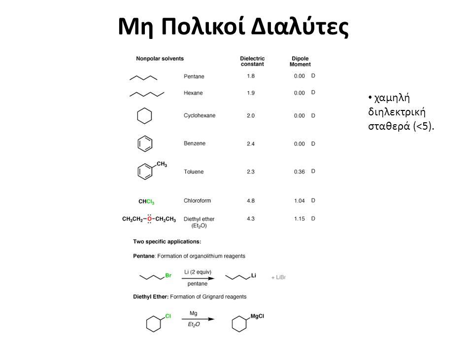 Μη Πολικοί Διαλύτες χαμηλή διηλεκτρική σταθερά (<5).