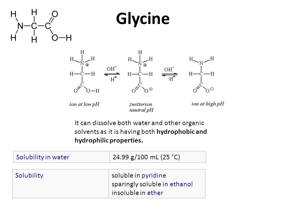 Glycine Solubilitysoluble in pyridine sparingly soluble in ethanol insoluble in ether Solubility in water24.99 g/100 mL (25 °C) It can dissolve both water and other organic solvents as it is having both hydrophobic and hydrophilic properties.