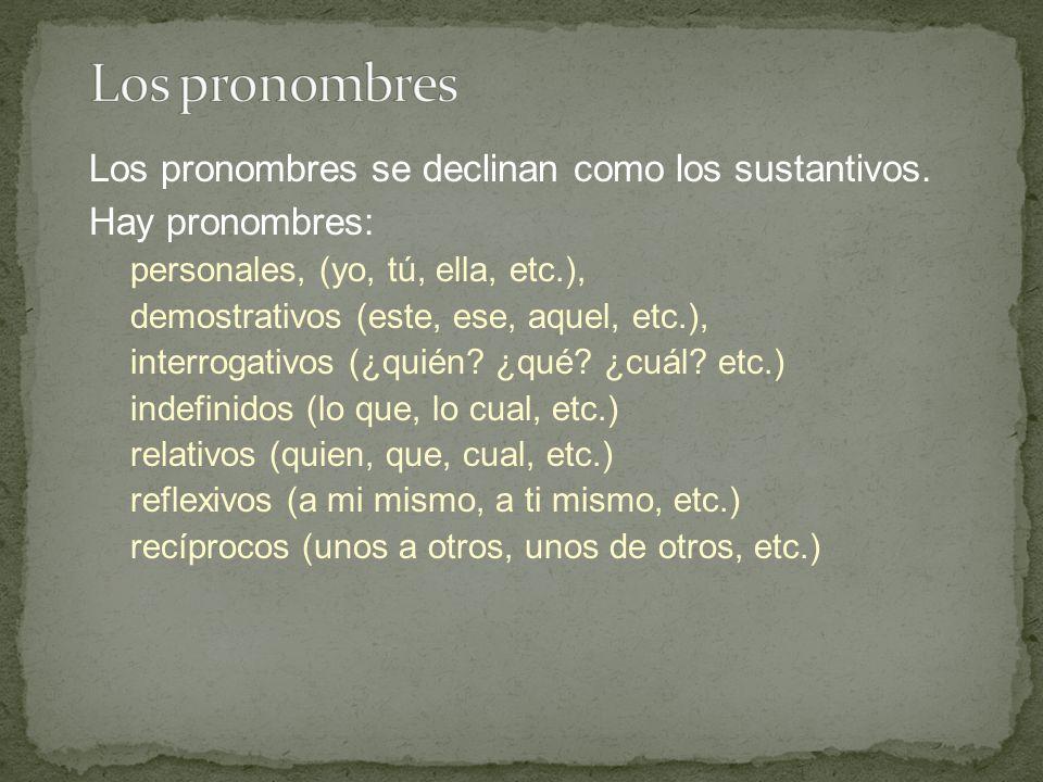 Los pronombres se declinan como los sustantivos.