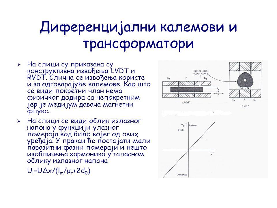 Диференцијални калемови и трансформатори  На слици су приказана су конструктивна извођења LVDT и RVDT.