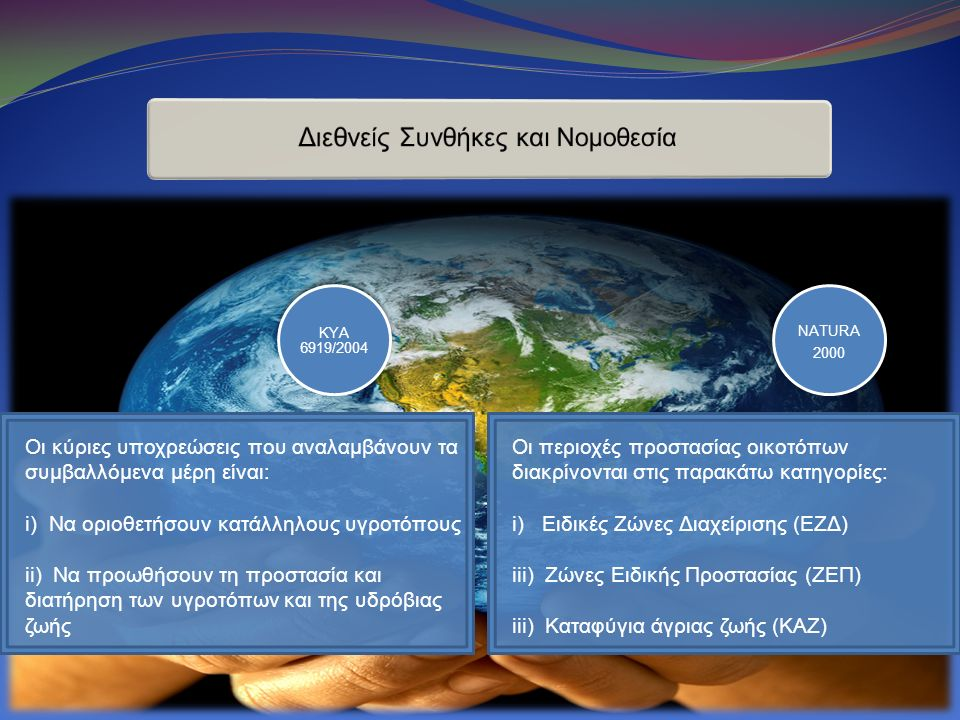 KYA 6919/2004 NATURA 2000 Οι περιοχές προστασίας οικοτόπων διακρίνονται στις παρακάτω κατηγορίες: i) Ειδικές Ζώνες Διαχείρισης (ΕΖΔ) iii) Ζώνες Ειδικής Προστασίας (ΖΕΠ) iii) Καταφύγια άγριας ζωής (ΚΑΖ) Οι κύριες υποχρεώσεις που αναλαμβάνουν τα συμβαλλόμενα μέρη είναι: i) Να οριοθετήσουν κατάλληλους υγροτόπους ii) Να προωθήσουν τη προστασία και διατήρηση των υγροτόπων και της υδρόβιας ζωής