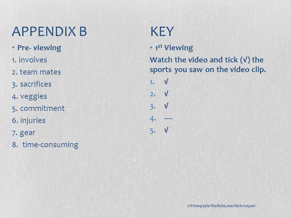 APPENDIX B KEY Pre- viewing 1. involves 2. team mates 3.