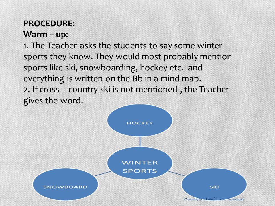 PROCEDURE: Warm – up: 1. The Teacher asks the students to say some winter sports they know.