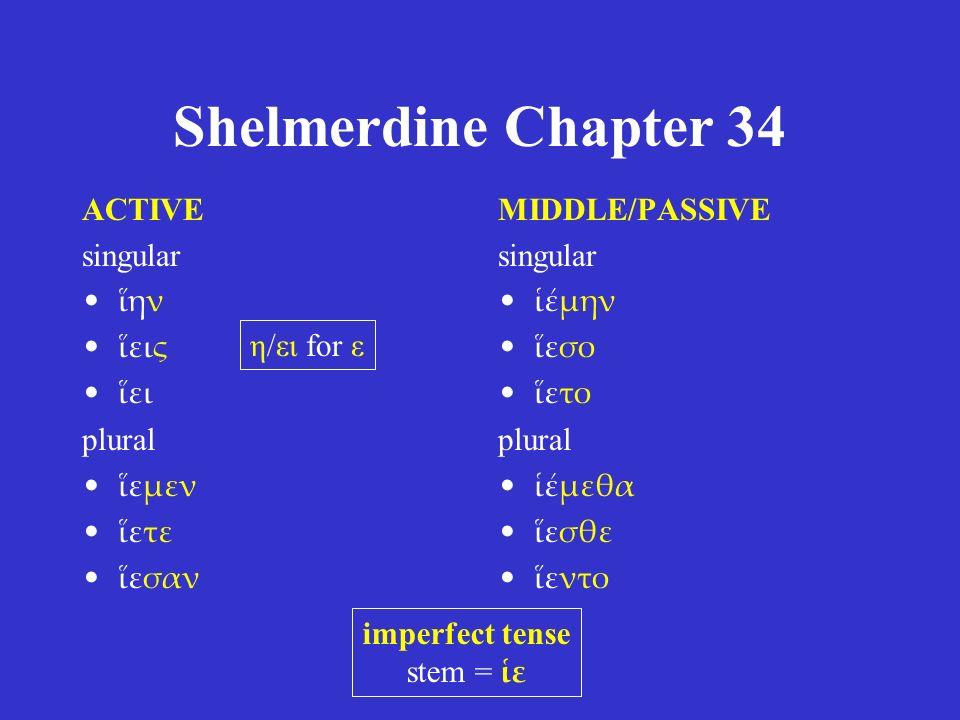 Shelmerdine Chapter 34 ACTIVE singular ἵην ἵεις ἵει plural ἵεμεν ἵετε ἵεσαν MIDDLE/PASSIVE singular ἱέμην ἵεσο ἵετο plural ἱέμεθα ἵεσθε ἵεντο imperfect tense stem = ἱε η/ει for ε