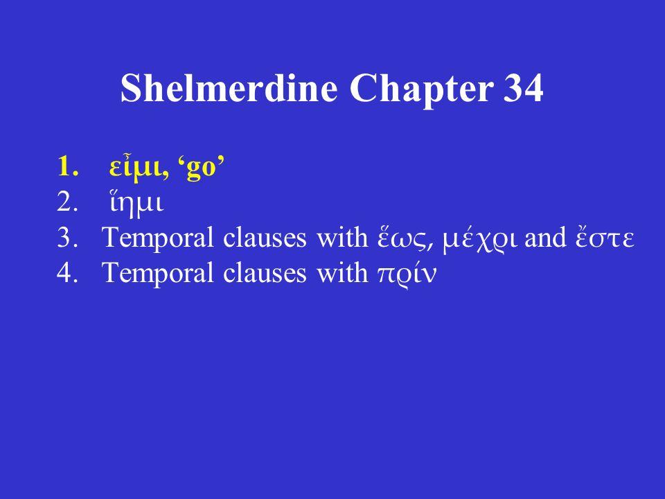 Shelmerdine Chapter 34 ACTIVE singular ἵημι ἵης ἵησι plural ἵεμεν ἵετε ἱᾶσι MIDDLE/PASSIVE singular ἵεμαι ἵεσαι ἵεται plural ἱέμεθα ἵεσθε ἵενται present tense stem = ἱε η for ε