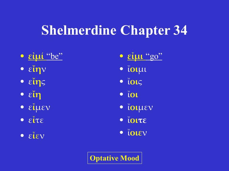 Shelmerdine Chapter 34 εἰμί be εἴην εἴης εἴη εἶμεν εἶτε εἶεν εἶμι go ἴοιμι ἴοις ἴοι ἴοιμεν ἴοιτε ἴοιεν Optative Mood