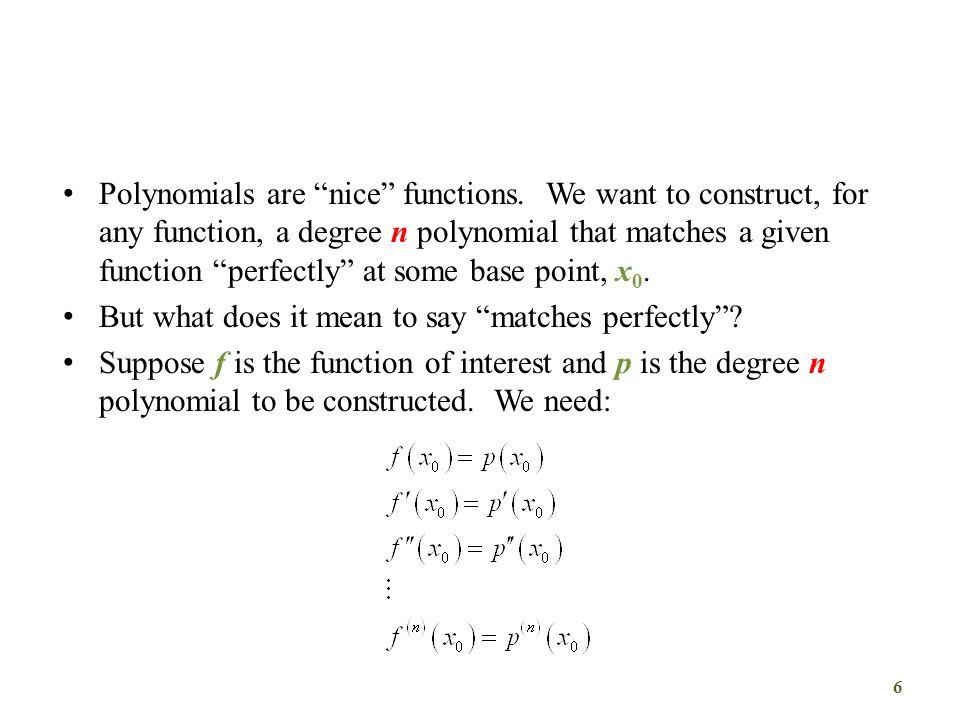 Σειρές και Πολυώνυμα Taylor Το θεώρημα του Taylor απαιτεί όχι τη μορφή της συνάρτησης και των παραγώγων της, αλλά την τιμή της συνάρτησης και των παραγώγων της σε ένα σημείο.