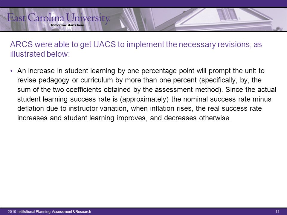 ARCS were able to get UACS to implement the necessary revisions, as illustrated below: An increase in student learning by one percentage point will prompt the unit to revise pedagogy or curriculum by more than one percent (specifically, by, the sum of the two coefficients obtained by the assessment method).
