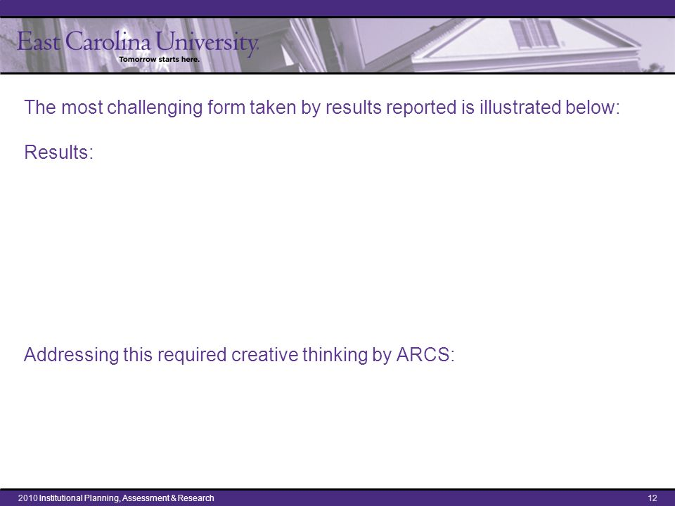 The most challenging form taken by results reported is illustrated below: Results: Addressing this required creative thinking by ARCS: 122010 Institut