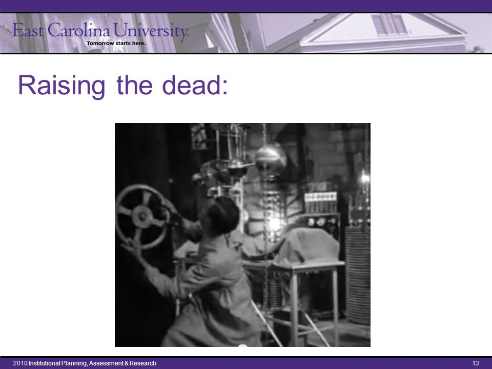Raising the dead: 132010 Institutional Planning, Assessment & Research