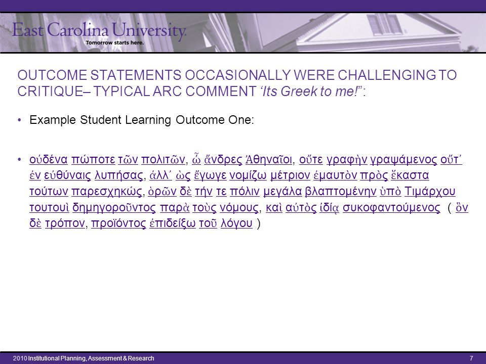 "OUTCOME STATEMENTS OCCASIONALLY WERE CHALLENGING TO CRITIQUE– TYPICAL ARC COMMENT 'Its Greek to me!"": Example Student Learning Outcome One: ο ὐ δένα π"