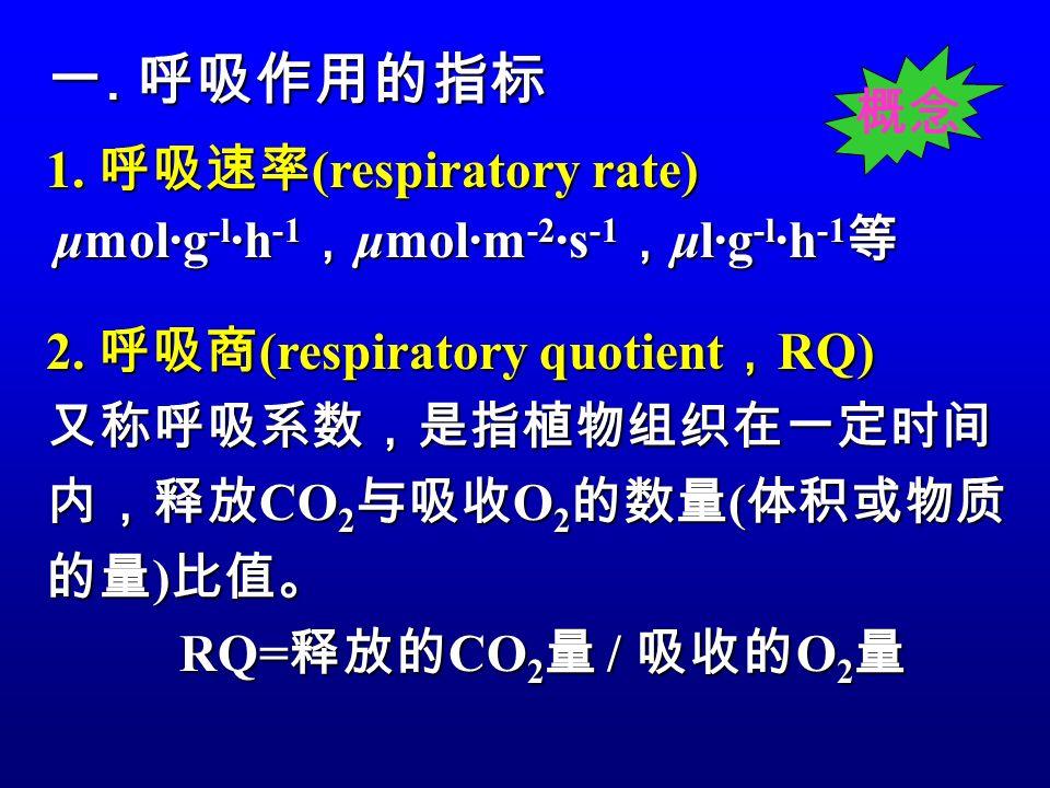 1.呼吸速率 (respiratory rate) μmol·g -l ·h -1 , μmol·m -2 ·s -1 , μl·g -l ·h -1 等 2.