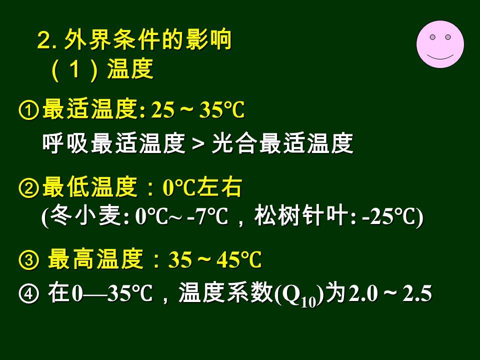 ①最适温度 : 25 ~ 35 ℃ 呼吸最适温度>光合最适温度 呼吸最适温度>光合最适温度 ②最低温度: 0 ℃左右 ( 冬小麦 : 0 ℃ ~ -7 ℃,松树针叶 : -25 ℃ ) ( 冬小麦 : 0 ℃ ~ -7 ℃,松树针叶 : -25 ℃ ) ③ 最高温度: 35 ~ 45 ℃ ④ 在 0—35 ℃,温度系数 (Q 10 ) 为 2.0 ~ 2.5 2.