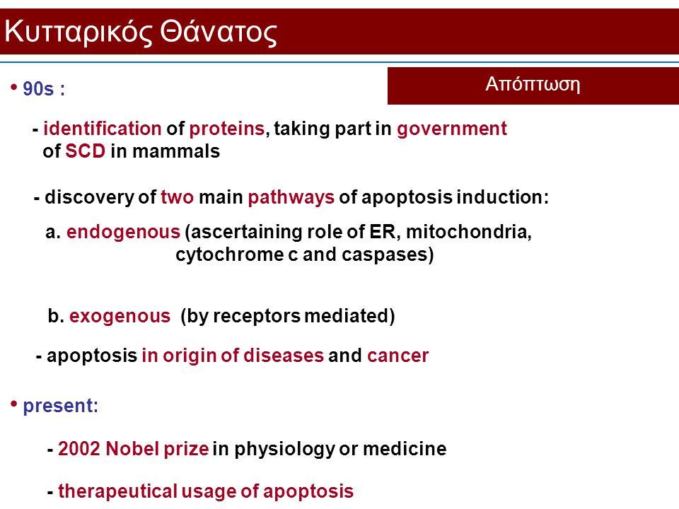 Κυτταρικός Θάνατος Απόπτωση 90s : - apoptosis in origin of diseases and cancer present: - 2002 Nobel prize in physiology or medicine - identification