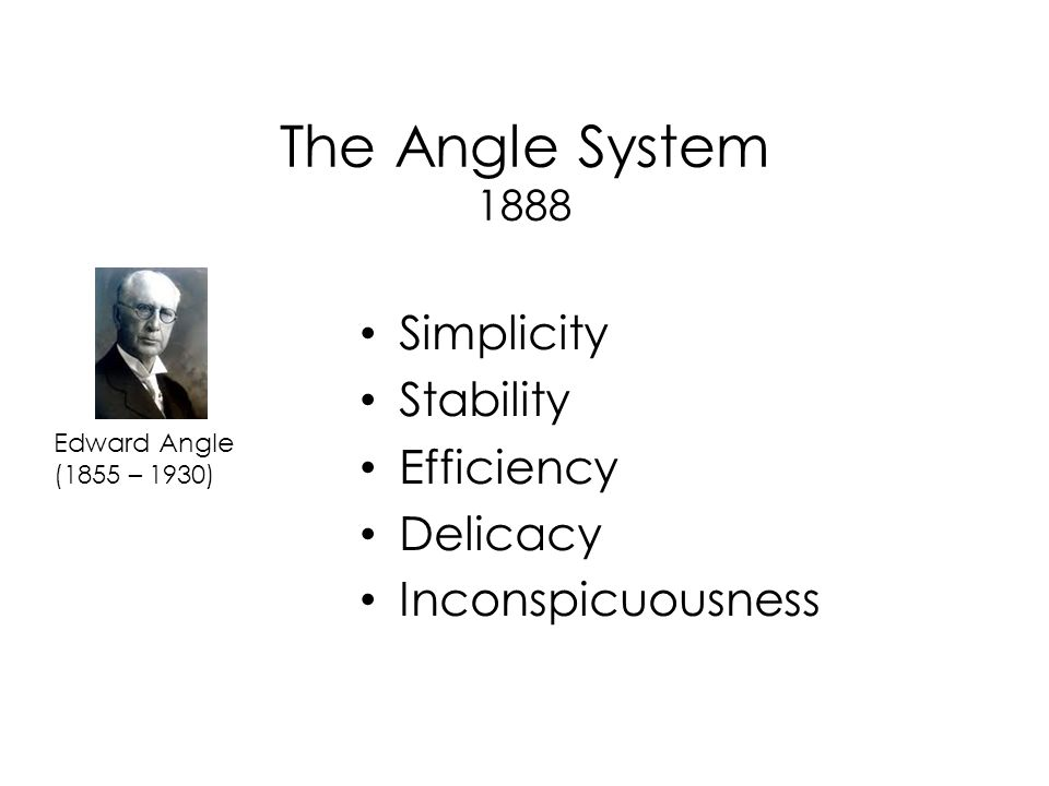 The Angle System 1888 Simplicity Stability Efficiency Delicacy Inconspicuousness Edward Angle (1855 – 1930)