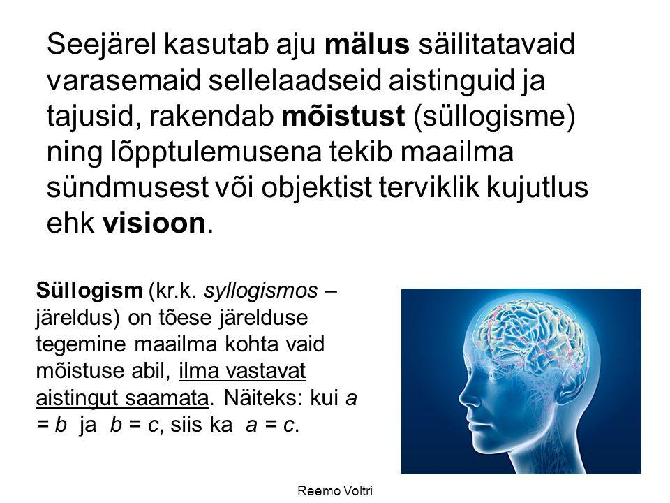 Reemo Voltri Seejärel kasutab aju mälus säilitatavaid varasemaid sellelaadseid aistinguid ja tajusid, rakendab mõistust (süllogisme) ning lõpptulemusena tekib maailma sündmusest või objektist terviklik kujutlus ehk visioon.