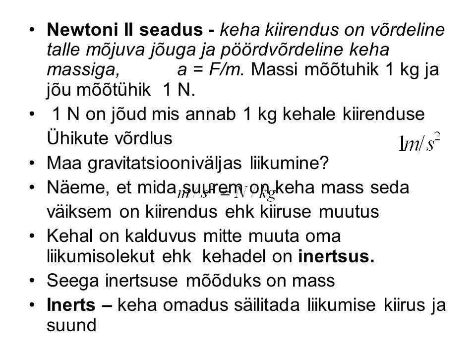 Newtoni II seadus - keha kiirendus on võrdeline talle mõjuva jõuga ja pöördvõrdeline keha massiga, a = F/m. Massi mõõtuhik 1 kg ja jõu mõõtühik 1 N. 1