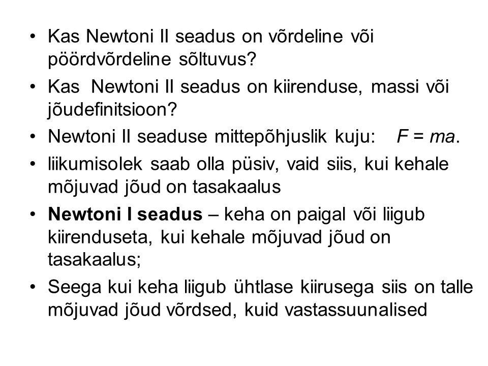 Kas Newtoni II seadus on võrdeline või pöördvõrdeline sõltuvus.