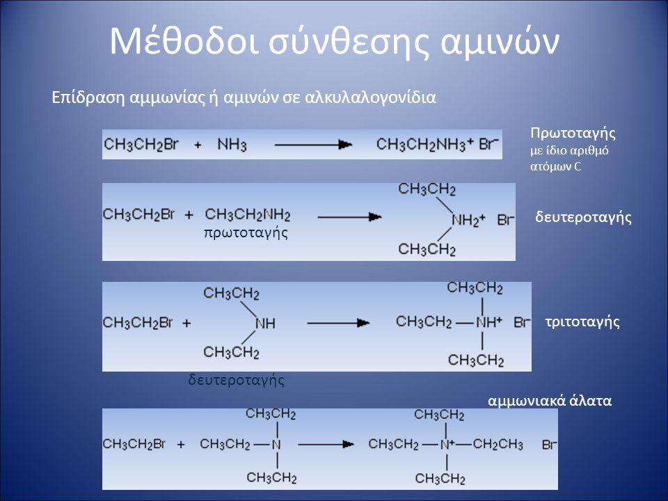 Μέθοδοι σύνθεσης αμινών Επίδραση αμμωνίας ή αμινών σε αλκυλαλογονίδια Πρωτοταγής με ίδιο αριθμό ατόμων C πρωτοταγής δευτεροταγής τριτοταγής αμμωνιακά άλατα