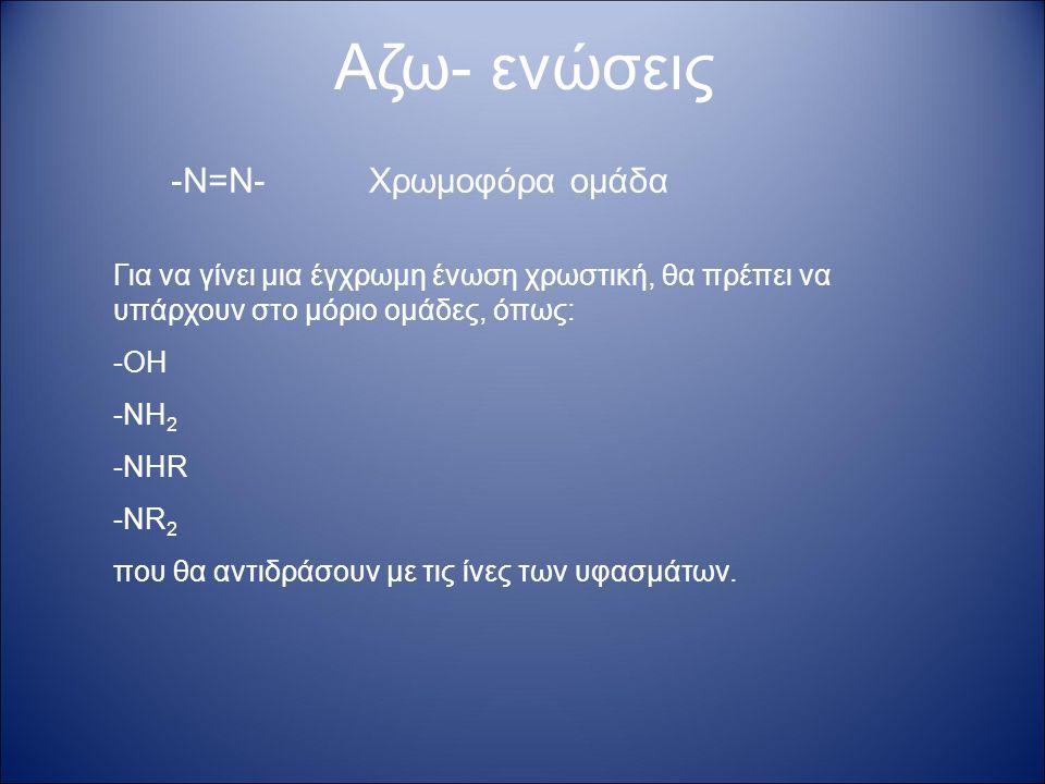 -Ν=Ν- Αζω- ενώσεις Χρωμοφόρα ομάδα Για να γίνει μια έγχρωμη ένωση χρωστική, θα πρέπει να υπάρχουν στο μόριο ομάδες, όπως: -ΟΗ -ΝΗ 2 -ΝΗR -NR 2 που θα αντιδράσουν με τις ίνες των υφασμάτων.