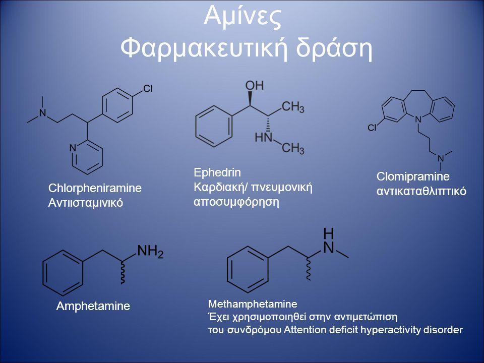 Αμίνες Φαρμακευτική δράση Chlorpheniramine Αντιισταμινικό Ephedrin Καρδιακή/ πνευμονική αποσυμφόρηση Amphetamine Methamphetamine Έχει χρησιμοποιηθεί στην αντιμετώπιση του συνδρόμου Attention deficit hyperactivity disorder Clomipramine αντικαταθλιπτικό