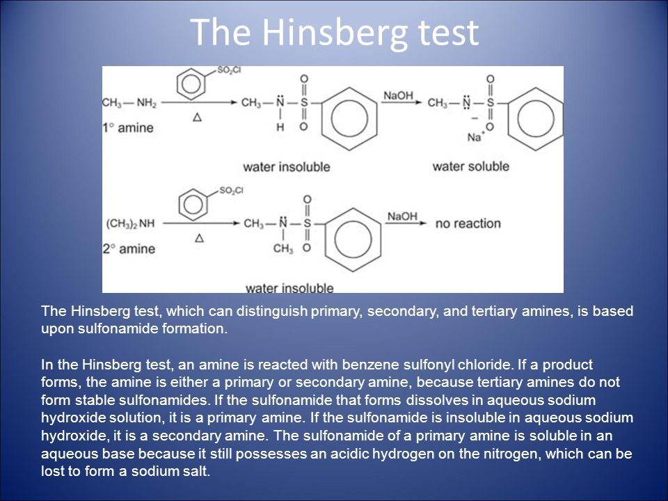 The Hinsberg test The Hinsberg test, which can distinguish primary, secondary, and tertiary amines, is based upon sulfonamide formation.