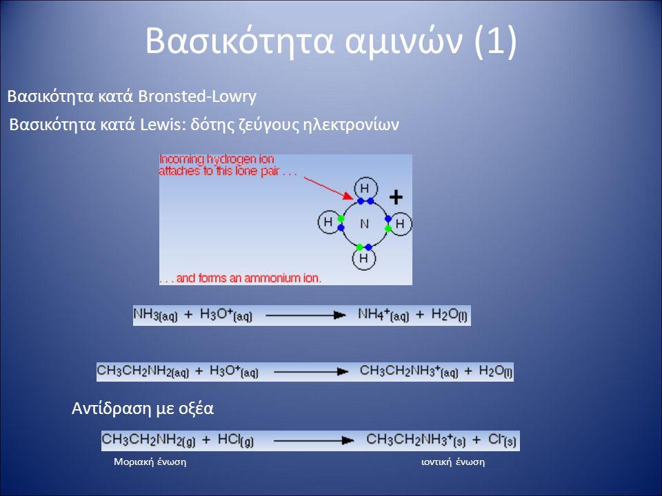 Βασικότητα αμινών (1) Βασικότητα κατά Bronsted-Lowry Βασικότητα κατά Lewis: δότης ζεύγους ηλεκτρονίων Αντίδραση με οξέα Μοριακή ένωσηιοντική ένωση