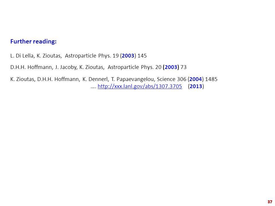 Further reading: L. Di Lella, K. Zioutas, Astroparticle Phys. 19 (2003) 145 D.H.H. Hoffmann, J. Jacoby, K. Zioutas, Astroparticle Phys. 20 (2003) 73 K