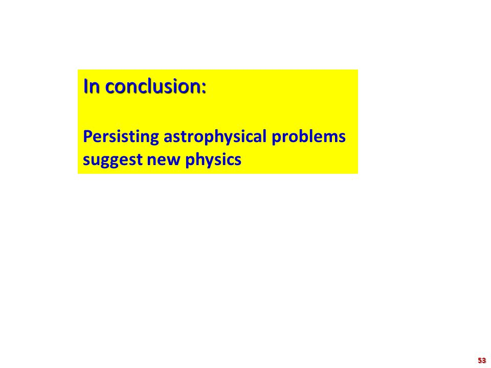 In conclusion: Persisting astrophysical problems suggest new physics 74 53