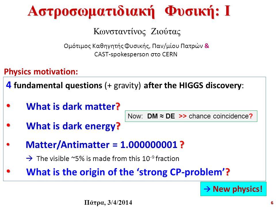 6 Αστροσωματιδιακή Φυσική: Ι Κωνσταντίνος Ζιούτας Ομότιμος Καθηγητής Φυσικής, Παν/μίου Πατρών & CAST-spokesperson στο CERN Πάτρα, 3/4/2014 4 fundament