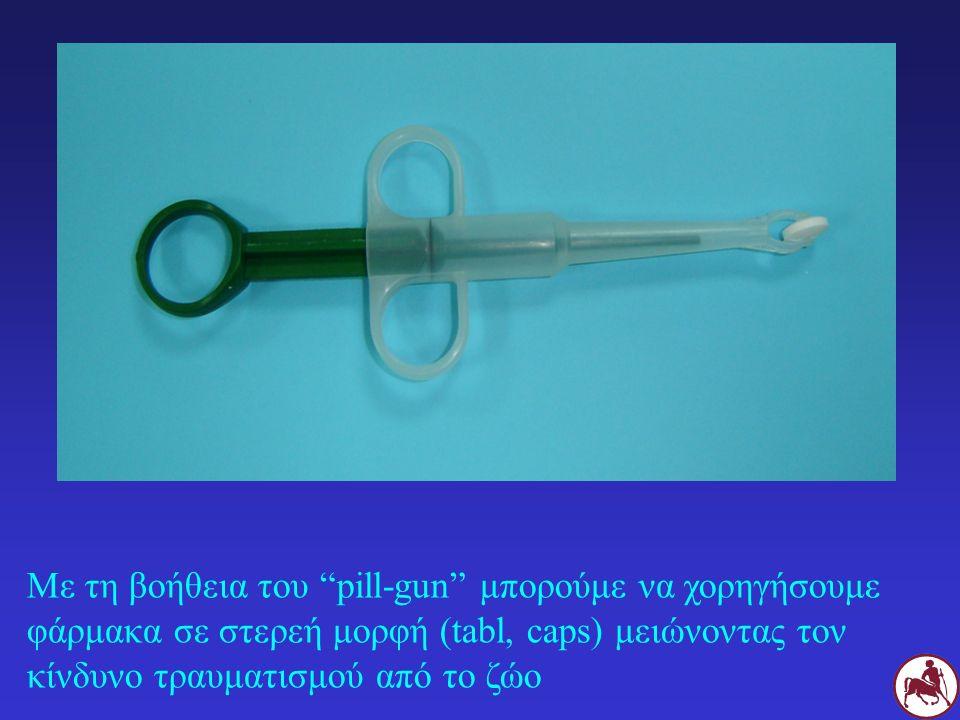 """Με τη βοήθεια του """"pill-gun"""" μπορούμε να χορηγήσουμε φάρμακα σε στερεή μορφή (tabl, caps) μειώνοντας τον κίνδυνο τραυματισμού από το ζώο"""