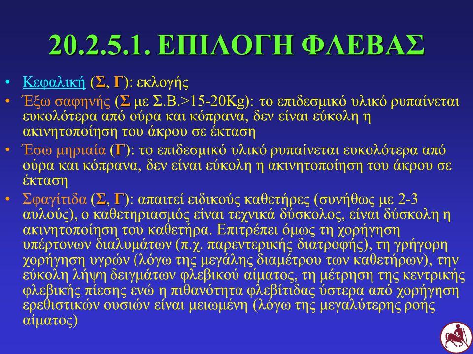 20.2.5.1. ΕΠΙΛΟΓΗ ΦΛΕΒΑΣ ΣΓΚεφαλική (Σ, Γ): εκλογής ΣΈξω σαφηνής (Σ με Σ.Β.>15-20Kg): το επιδεσμικό υλικό ρυπαίνεται ευκολότερα από ούρα και κόπρανα,