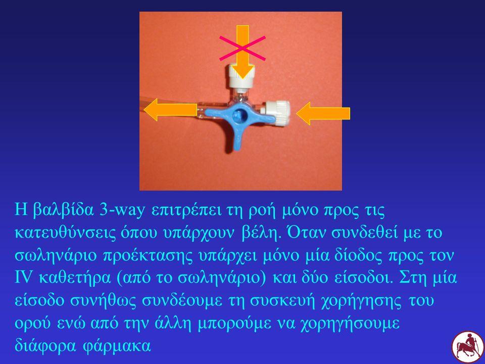 Η βαλβίδα 3-way επιτρέπει τη ροή μόνο προς τις κατευθύνσεις όπου υπάρχουν βέλη. Όταν συνδεθεί με το σωληνάριο προέκτασης υπάρχει μόνο μία δίοδος προς
