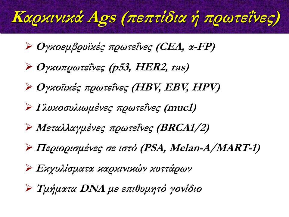 Καρκινικά Ags (πεπτίδια ή πρωτεΐνες)  Ογκοεμβρυϊκές πρωτεΐνες (CEA, α-FP)  Ογκοπρωτεΐνες (p53, HER2, ras)  Ογκοϊικές πρωτεΐνες (HBV, EBV, HPV)  Γλυκοσυλιωμένες πρωτεΐνες (muc1)  Μεταλλαγμένες πρωτεΐνες (BRCA1/2)  Περιορισμένες σε ιστό (PSA, Melan-A/MART-1)  Εκχυλίσματα καρκινικών κυττάρων  Τμήματα DNA με επιθυμητό γονίδιο