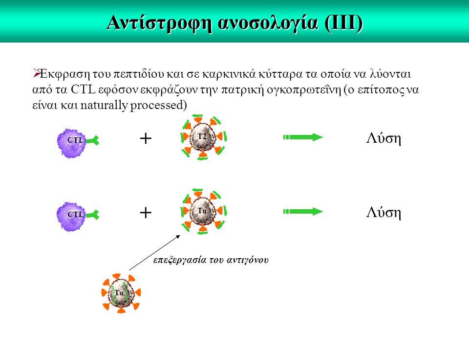 Αντίστροφη ανοσολογία (ΙΙΙ)  Έκφραση του πεπτιδίου και σε καρκινικά κύτταρα τα οποία να λύονται από τα CTL εφόσον εκφράζουν την πατρική ογκοπρωτεΐνη (ο επίτοπος να είναι και naturally processed) CTL + Λύση T2 CTL + Λύση Tu επεξεργασία του αντιγόνου