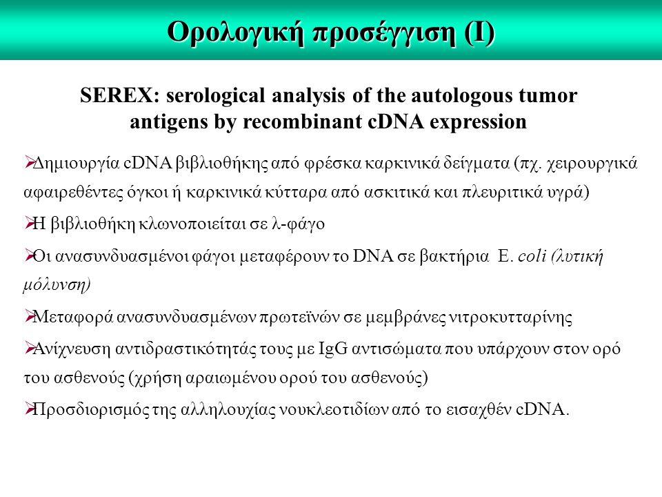 Ορολογική προσέγγιση (Ι) SEREX: serological analysis of the autologous tumor antigens by recombinant cDNA expression  Δημιουργία cDNA βιβλιοθήκης από φρέσκα καρκινικά δείγματα (πχ.