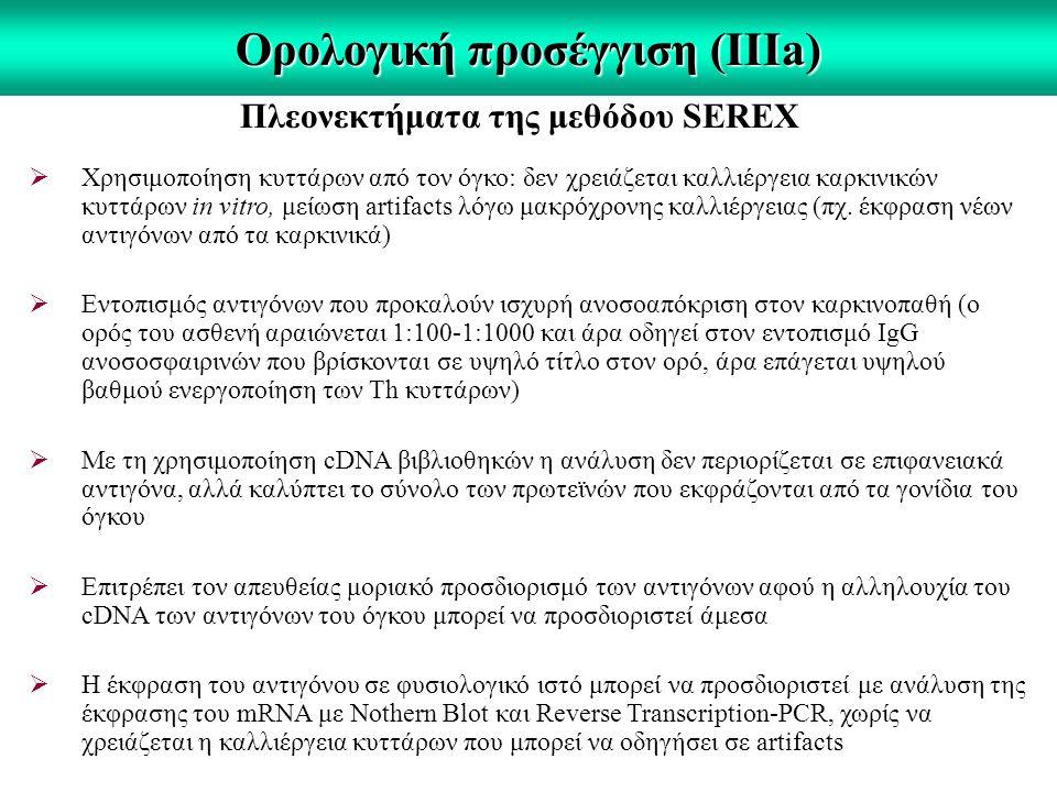 Ορολογική προσέγγιση (IIΙa) Πλεονεκτήματα της μεθόδου SEREX  Χρησιμοποίηση κυττάρων από τον όγκο: δεν χρειάζεται καλλιέργεια καρκινικών κυττάρων in vitro, μείωση artifacts λόγω μακρόχρονης καλλιέργειας (πχ.