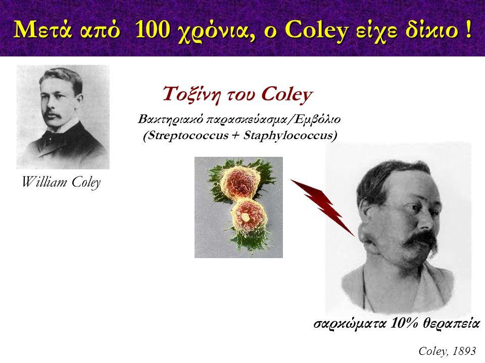 Μετά από 100 χρόνια, ο Coley είχε δίκιο ! Coley, 1893 William Coley Τοξίνη του Coley Βακτηριακό παρασκεύασμα/Εμβόλιο (Streptococcus + Staphylococcus)