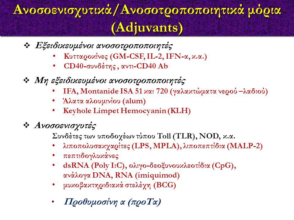  Εξειδικευμένοι ανοσοτροποποιητές Κυτταροκίνες (GM-CSF, IL-2, IFN-α, κ.α.) CD40-συνδέτης, αντι-CD40 Αb  Μη εξειδικευμένοι ανοσοτροποποιητές IFA, Montanide ISA 51 και 720 (γαλακτώματα νερού –λαδιού) Άλατα αλουμινίου (alum) Keyhole Limpet Hemocyanin (KLH)  Ανοσοενισχυτές Συνδέτες των υποδοχέων τύπου Toll (TLR), NOD, κ.α.