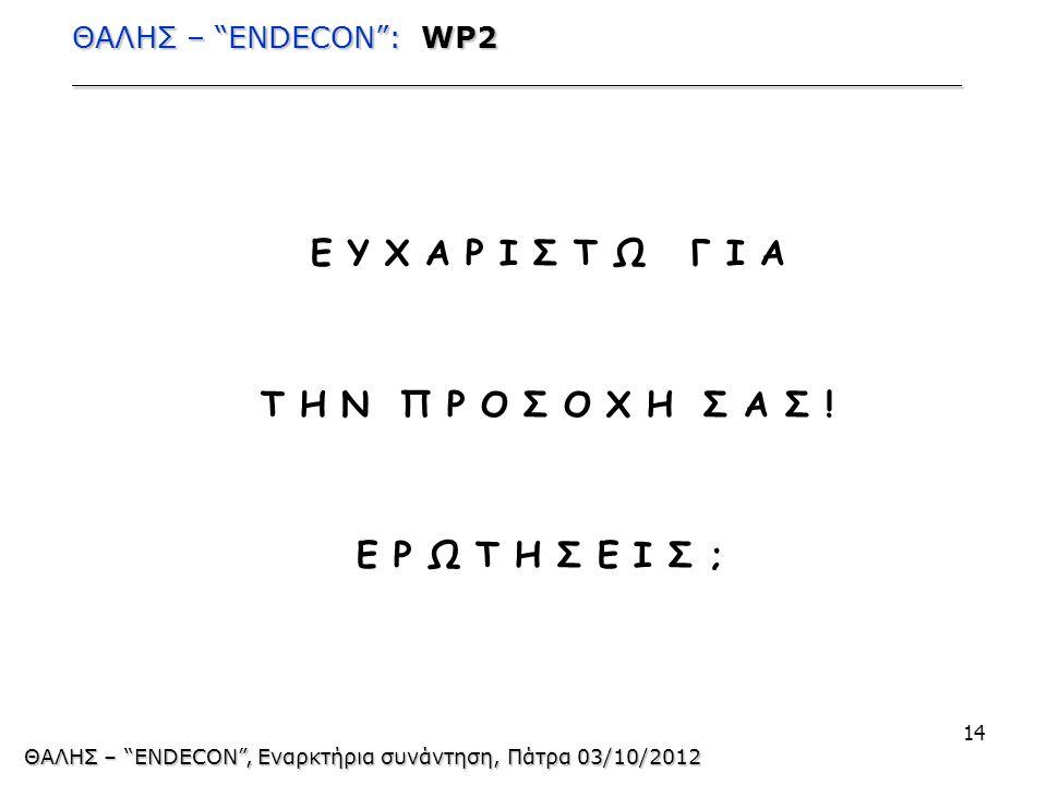 ΘΑΛΗΣ – ENDECON : WP2 ________________________________________________ Ε Υ Χ Α Ρ Ι Σ Τ Ω Γ Ι Α Τ Η Ν Π Ρ Ο Σ Ο Χ Η Σ Α Σ .
