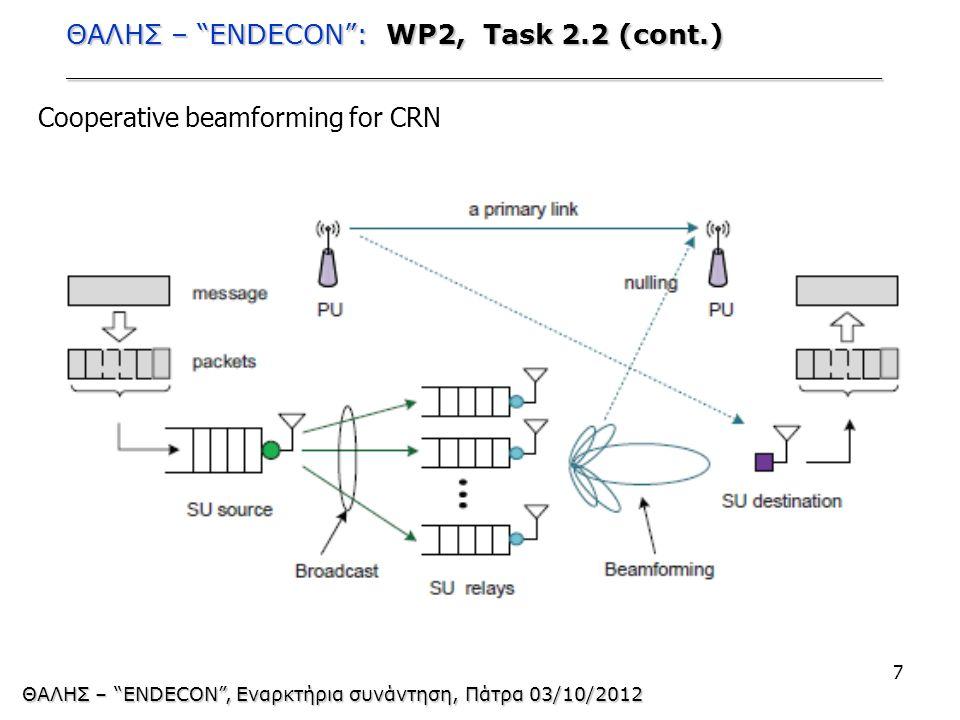 ΘΑΛΗΣ – ENDECON : WP2, Task 2.2 (cont.) ________________________________________________ 7 ΘΑΛΗΣ – ENDECON , Εναρκτήρια συνάντηση, Πάτρα 03/10/2012 Cooperative beamforming for CRN
