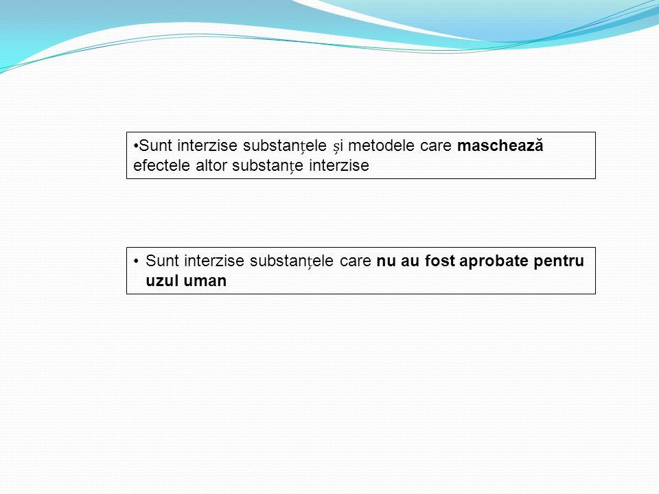 Sunt interzise substanele care nu au fost aprobate pentru uzul uman Sunt interzise substanele i metodele care maschează efectele altor substane interz