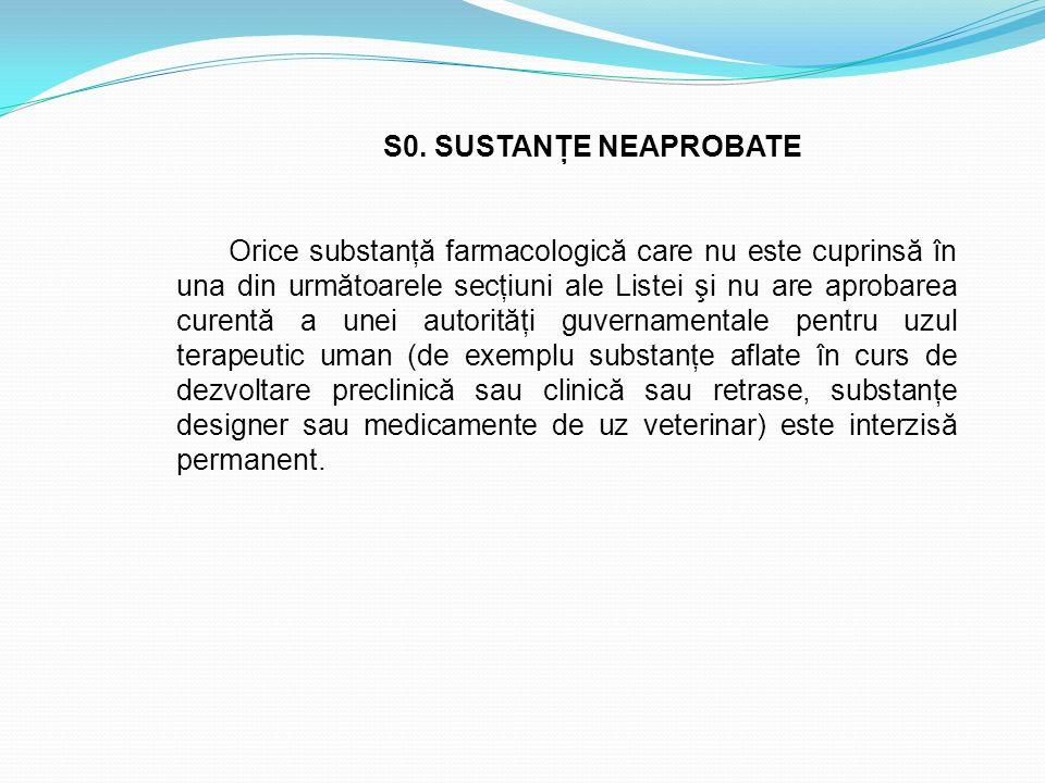 S0. SUSTANŢE NEAPROBATE Orice substanţă farmacologică care nu este cuprinsă în una din următoarele secţiuni ale Listei şi nu are aprobarea curentă a u