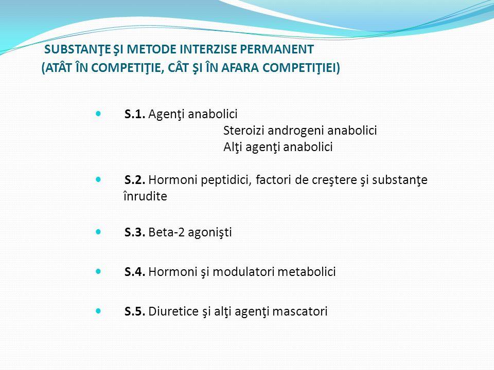 SUBSTANŢE ŞI METODE INTERZISE PERMANENT (ATÂT ÎN COMPETIŢIE, CÂT ŞI ÎN AFARA COMPETIŢIEI) S.1. Agenţi anabolici Steroizi androgeni anabolici Alţi agen