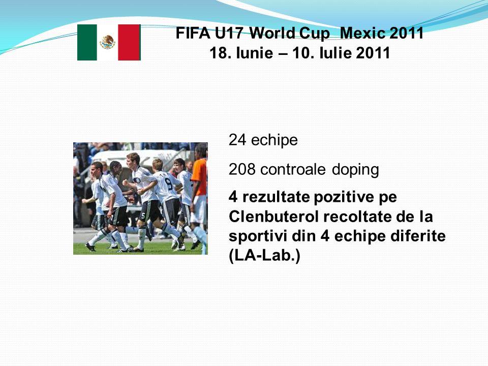 FIFA U17 World Cup Mexic 2011 18. Iunie – 10. Iulie 2011 24 echipe 208 controale doping 4 rezultate pozitive pe Clenbuterol recoltate de la sportivi d
