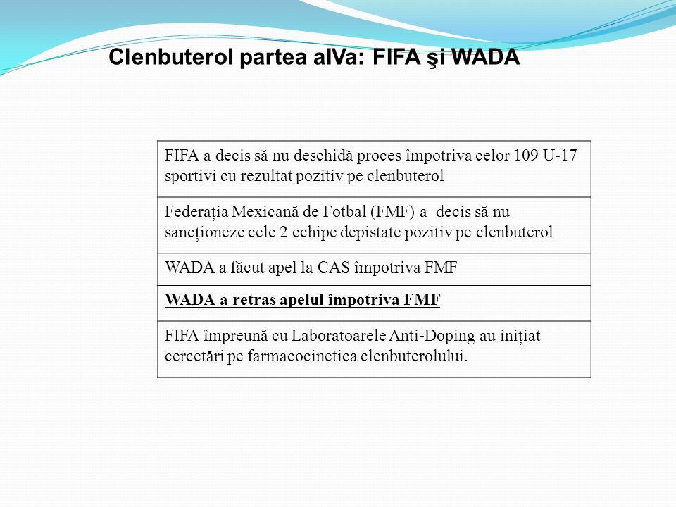 FIFA a decis să nu deschidă proces împotriva celor 109 U-17 sportivi cu rezultat pozitiv pe clenbuterol Federaţia Mexicană de Fotbal (FMF) a decis să