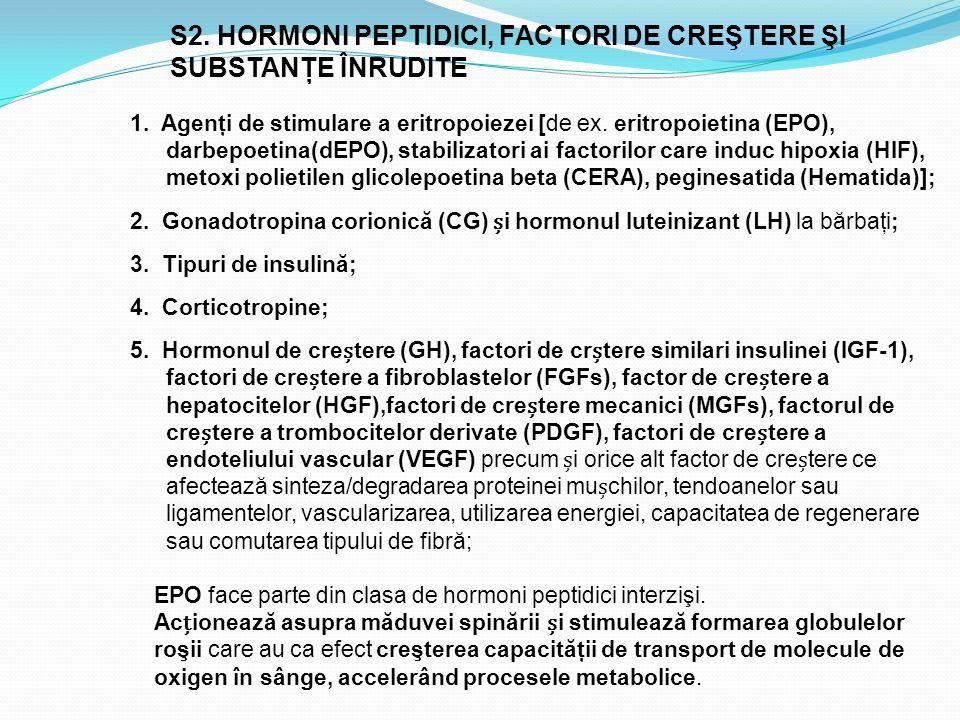 S2. HORMONI PEPTIDICI, FACTORI DE CREŞTERE ŞI SUBSTANŢE ÎNRUDITE 1. Agenţi de stimulare a eritropoiezei [de ex. eritropoietina (EPO), darbepoetina(dEP