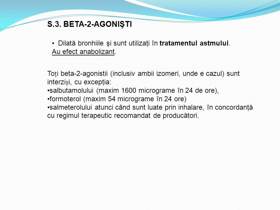 S.3. BETA-2-AGONIŞTI Toi beta-2-agonistii (inclusiv ambii izomeri, unde e cazul) sunt interzii, cu excepţia: salbutamolului (maxim 1600 micrograme în