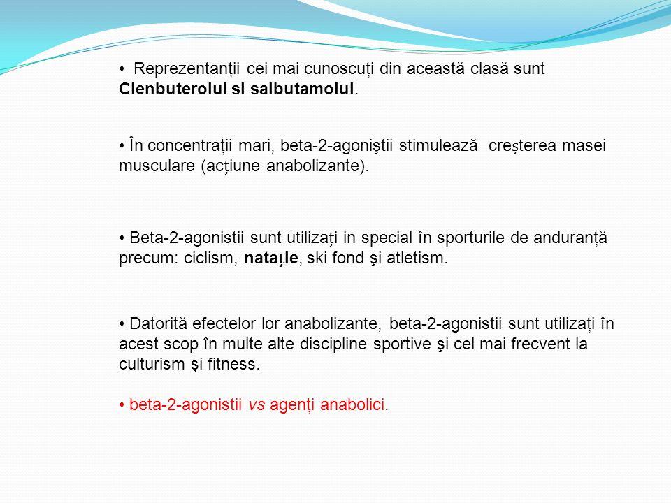 Reprezentanţii cei mai cunoscuţi din această clasă sunt Clenbuterolul si salbutamolul. În concentraţii mari, beta-2-agoniştii stimulează creterea mase
